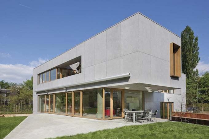Gevelplaten bij een nieuwbouw © HASA | architecten bv bvba - Sarah Flebus & Hans Verplancke / Materiaal: Eternit NV